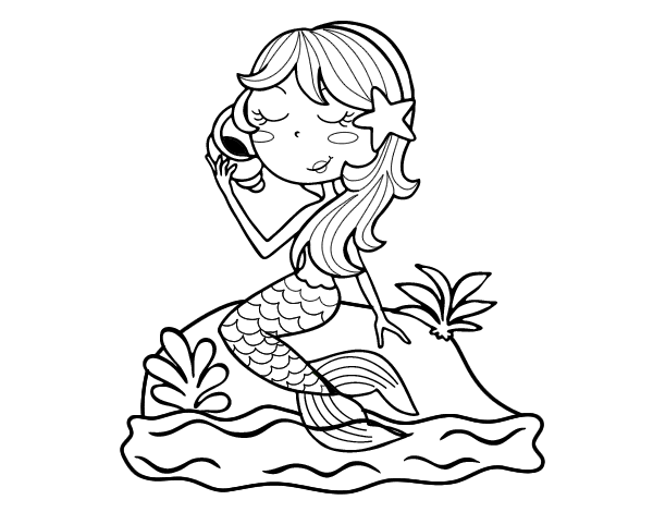 Mermaid sitting on a rock with a sea snail coloring page ...