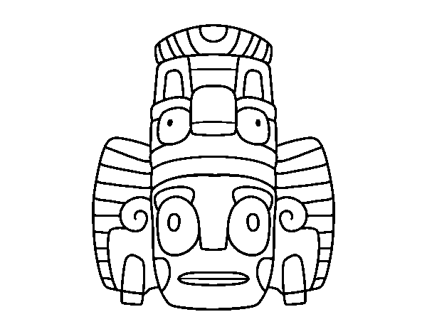 Mexican mask of rituals coloring page