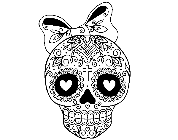 Mexican skull with bow coloring page