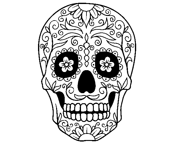 Mexican skull coloring page