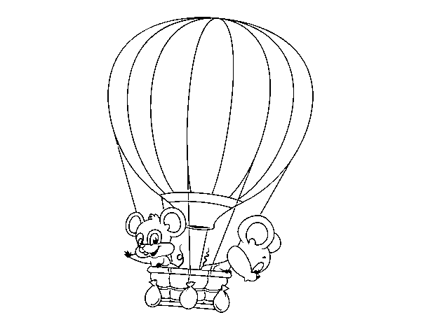 Mice in a balloon coloring page