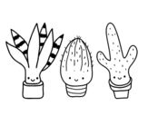 Mini cactus coloring page