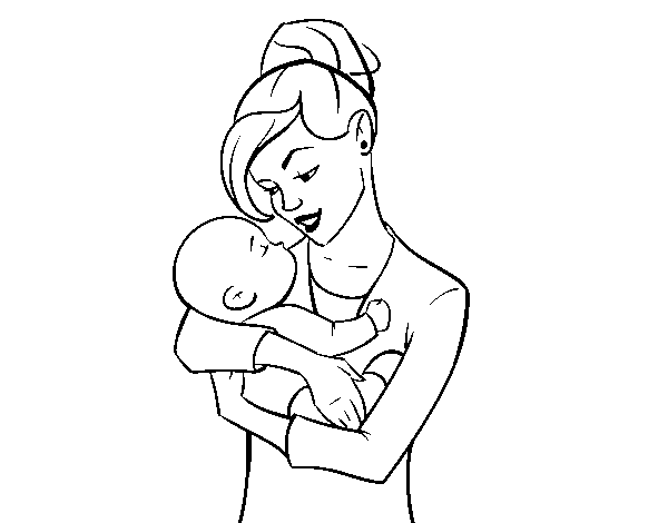 Mother rocking her baby coloring page
