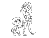 Mother walking with child coloring page