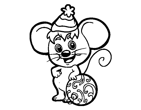 Mouse with Christmas Hat coloring page - Coloringcrew.com