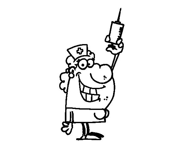 Nurse With A Needle Coloring Page Coloringcrew Com