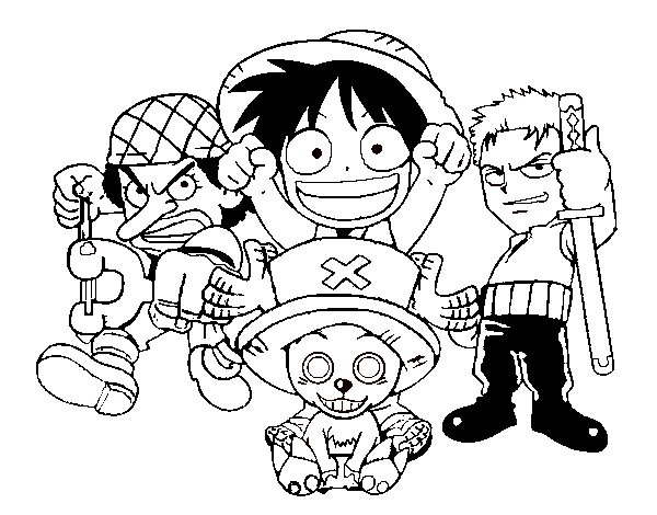 One Piece Characters Coloring Page Coloringcrew Com