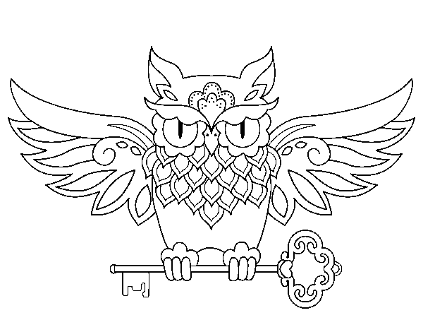 Owl with key tattoo coloring page