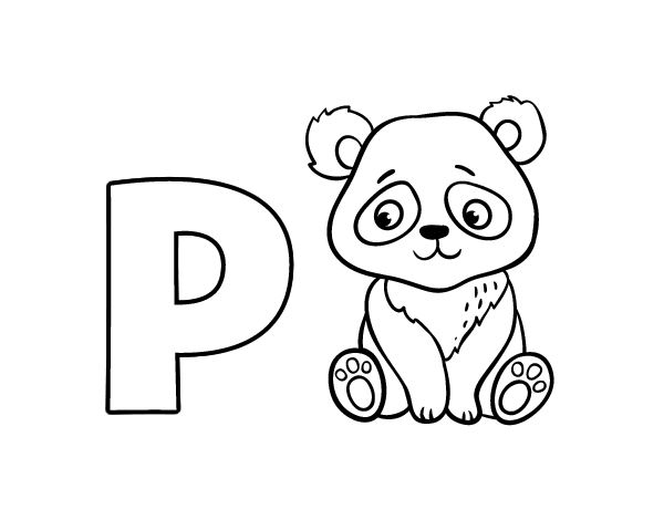 P of Panda coloring page - Coloringcrew.com