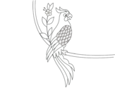 Parrot tattoo coloring page
