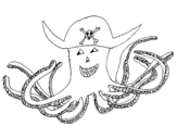 Pirate octopus coloring page