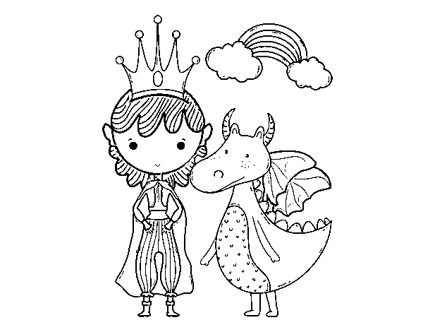 Prince and dragon coloring page