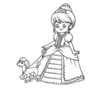 Dibujo de Princess with puppy