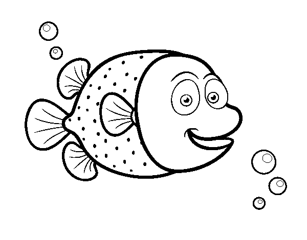 Pufferfish of white dots coloring page