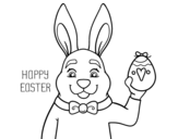 Rabbit and Easter coloring page