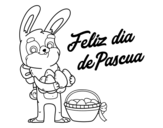 Rabbit with many easter eggs coloring page
