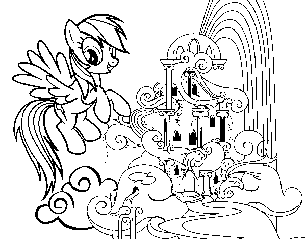 Rainbow Dash palace coloring page