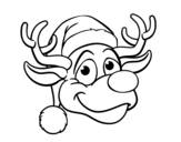 Reindeer face Rudolph coloring page