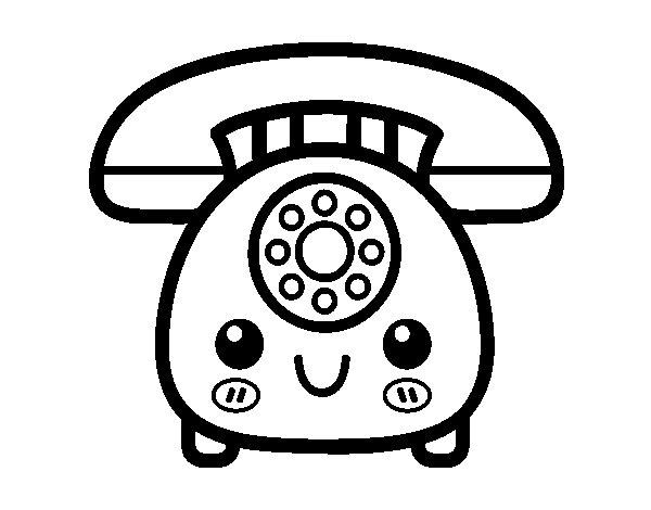 Retro phone coloring page - Coloringcrew.com