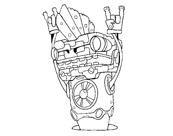 Robot Rock and roll coloring page