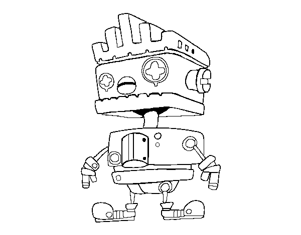 Robot with Mohawk haircut coloring page