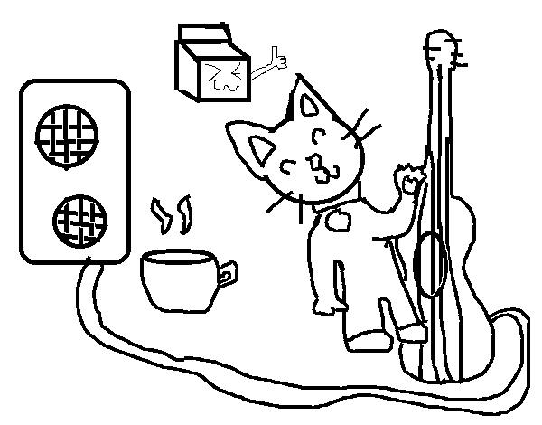Rocker cat coloring page