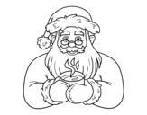 Santa Claus with coffee cup coloring page