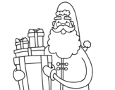 Santa Claus with presents coloring page