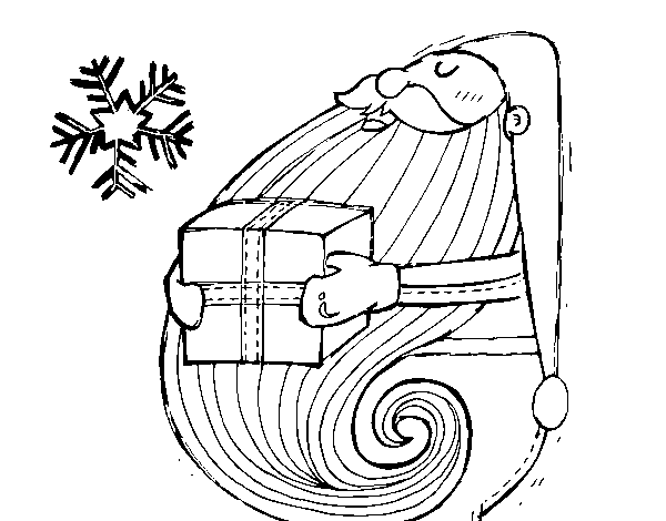 Santa with gift coloring page