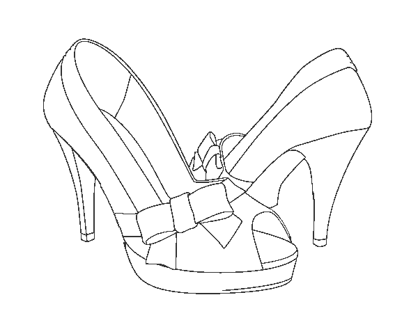 Shoes with bow coloring page