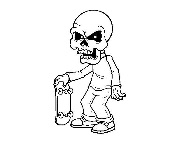 Skull boy coloring page