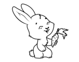 Smiling bunny coloring page
