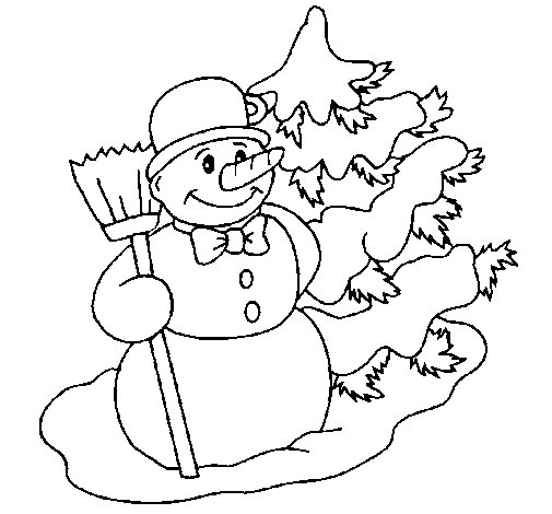 Snowman Christmas Tree Coloring Page - Worksheet & Coloring Pages