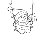 Snowman swinging coloring page