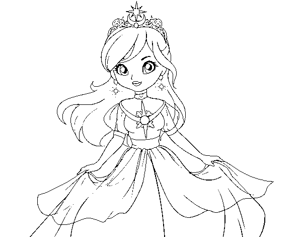 Star princess coloring page