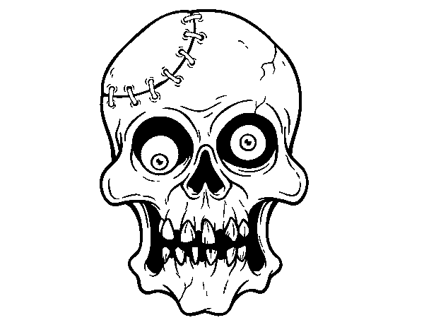 Stitched skull coloring page