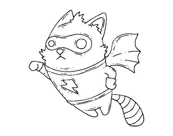 Super Raccoon coloring page