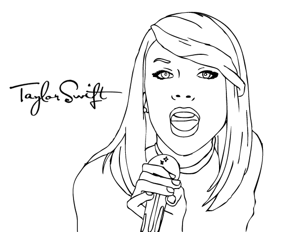 Taylor Swift singing coloring page - Coloringcrew.com