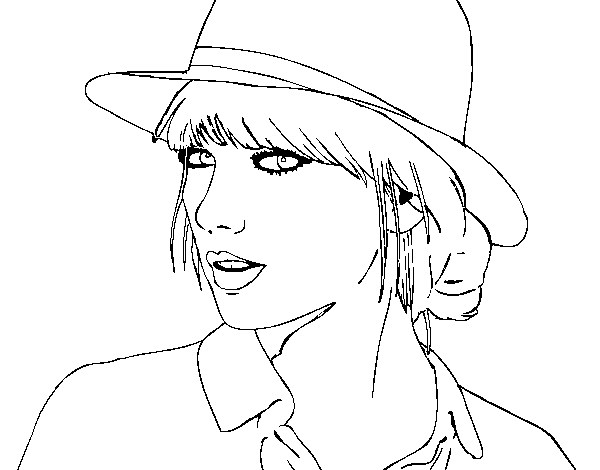 Taylor Swift with hat coloring page - Coloringcrew.com