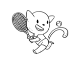 Tenis cat coloring page