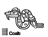 The Aztecs days: the Snake Coatl coloring page