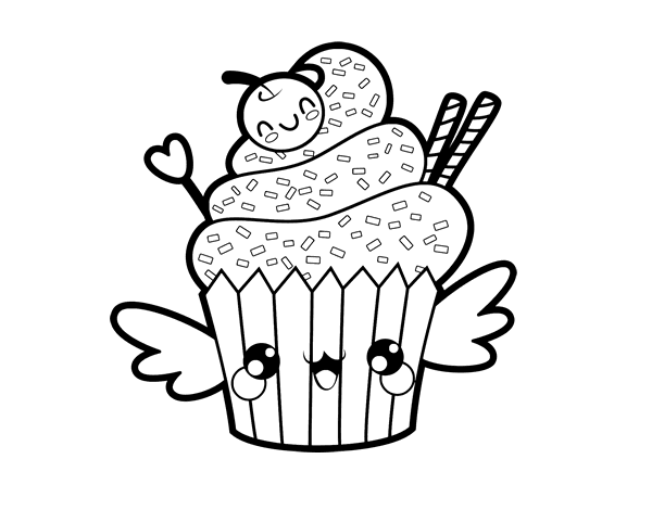 The Cupcake Kawaii Coloring Page Coloringcrewcom