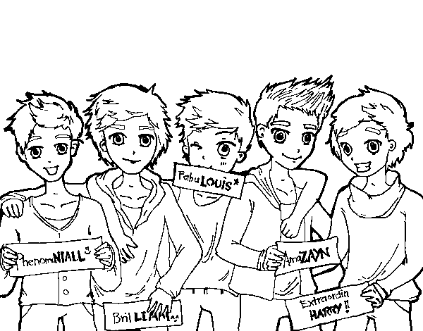 The Guys Of One Direction Coloring Page Coloringcrew Com