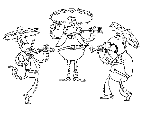 The Mariachis coloring page - Coloringcrew.com