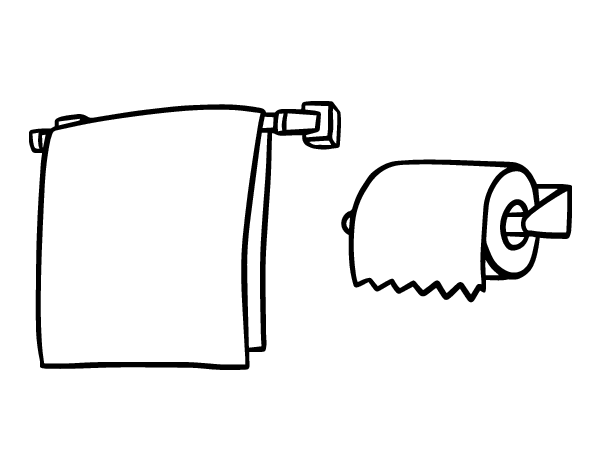 Towel and toilet paper coloring page - Coloringcrew.com