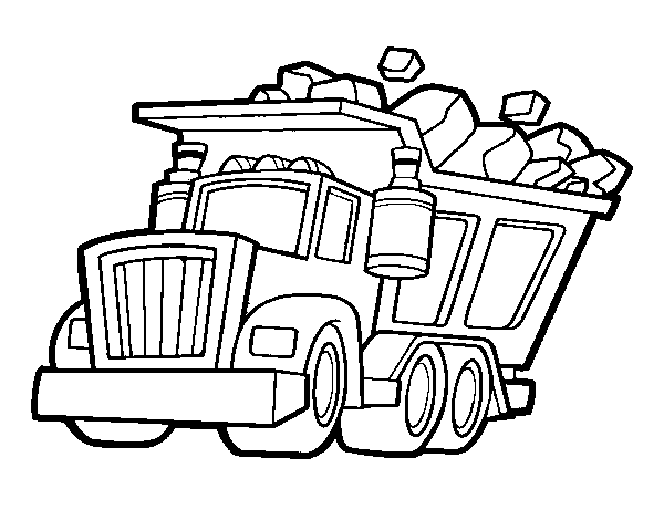 Truck loaded coloring page