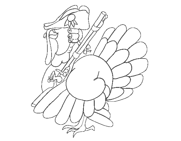 Turkey with shotgun coloring page