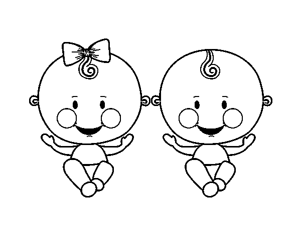 Twin boy and girl coloring page