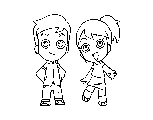 Two brothers coloring page