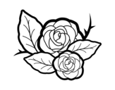 Two roses coloring page